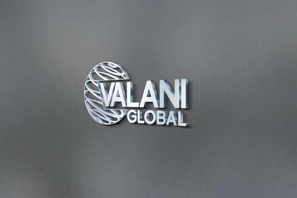 Valani Global Logo on brushed metal