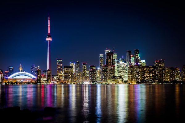 Video thumbnail of the Toronto Skyline at night as it appears for the video for Hospice Toronto